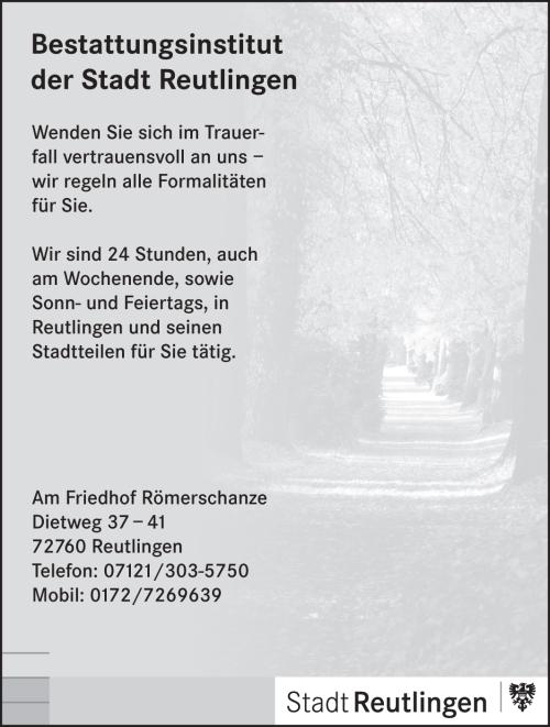 Anzeige Bestattungsinstitut der Stadt Reutlingen