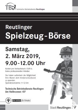 Spielzeugbörse am 2.3.19 bei den Technischen Betriebsdiensten