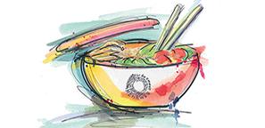 gezeichnete Essensschüssel mit bunten Farben